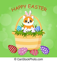 Cute corgi dog with bunny ears is sitting in the Easter basket, full of colorful egg. Vector cartoon illustration with text Happy Easter
