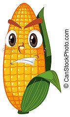 Cute corn cartoon character with face expression on white background