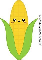 Cute corn, illustration, vector on white background.