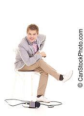 cute correspondent sitting