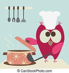 cute, coruja, com, um, bawl, cozinhar, em, a