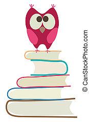 cute, coruja, e, livros