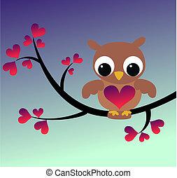 cute, coruja, ramo, sentando