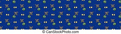 Cute cosmic space background seamless vector border. Hand drawn galaxy cartoon, planets, stars for trendy fashion prints. Child room decor, kids universe travel backdrop. Solar system all over print.
