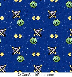 Cute cosmic space background seamless vector pattern. Hand drawn galaxy cartoon, planets, stars for trendy fashion prints. Child room decor, kids universe travel backdrop. Solar system all over print.