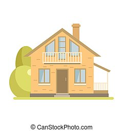 Cute cottage brick house with balcony and attic - Cute...