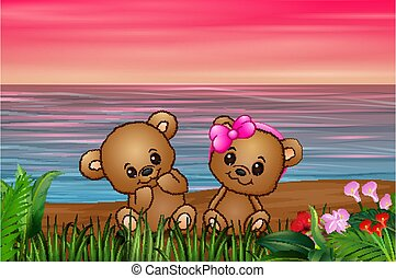 Cute couple a teddy bear sitting on seaside