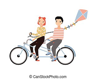 Cute couple dressed in trendy clothes riding tandem bicycle and holding kite. Young man and woman sitting on bike isolated on white background. Colorful vector illustration in flat cartoon style.