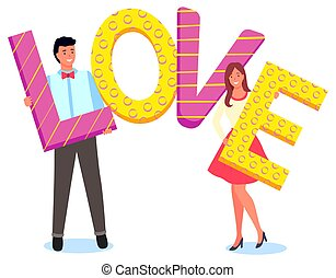 Cute Couple Holding Letters of Word Love Vector