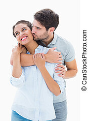 Cute couple hugging and smiling