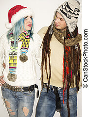 Cute couple in winter clothes