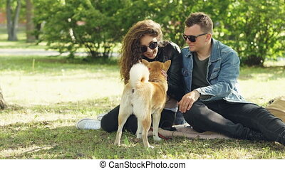 Cute couple man and woman are patting beautiful dog and...