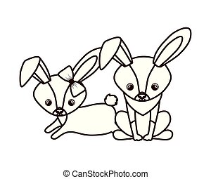 cute couple of rabbits on white background