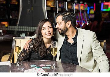 Cute couple on a casino date