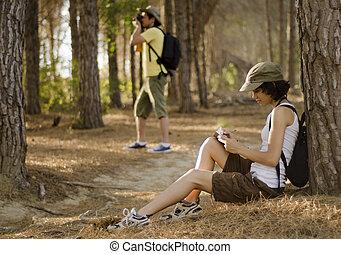 Cute couple on a hiking trip