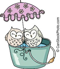 Cute couple owl with umbrella on bucket of water