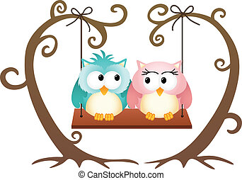 Image representing a cute couple owls in love on a swing, isolated on white, vector design.