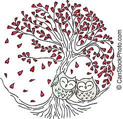 Cute couple owls on love tree