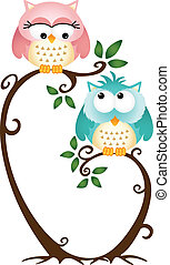 Cute Couple Owls On The Tree