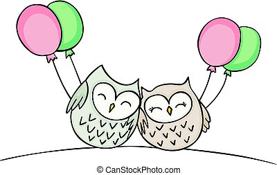 Cute couple owls with balloons