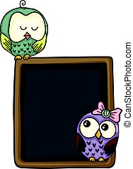 Cute couple owls with blackboard