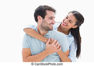 Cute couple smiling at each other
