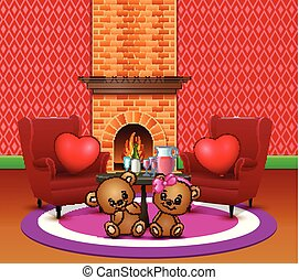 Cute couple teddy bear in the romantic living room