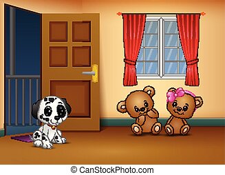 Cute couple teddy bear with a dog in the living room
