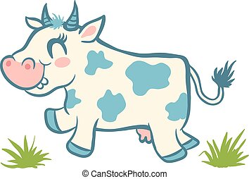Cute cow and green grass