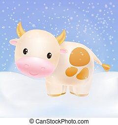 Cute cow, bull smiling. 2021 Chinese symbol. Premium vector.