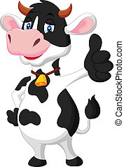 Cute cow cartoon giving thumb up - Vector illustration of...