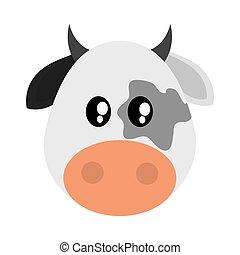 Cute cow cartoon icon