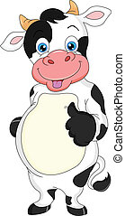cute cow cartoon thumbs up illustration