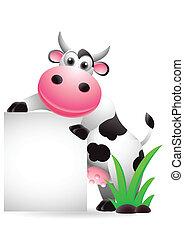 cute cow cartoon with blank sign