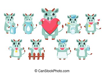 Cute Cow Character Set