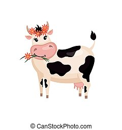 Cute cow in flat style - Cute cow with wreath in flat style...