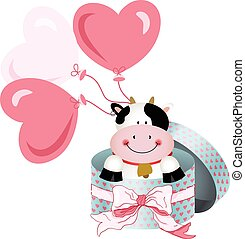 Cute cow in round gift box with bow ribbon and balloons