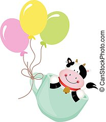 Cute cow in teacup with balloons