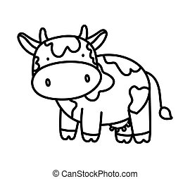 cute cow livestock farm animal cartoon thick line