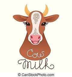 Cute cow portrait. Cow milk inscription. Calf character in cartoon style.