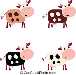 Cute cow set in 4 different colors isolated on white background