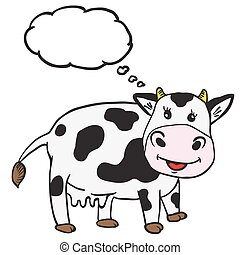 cute cow with thought bubble