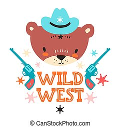 Cute cowboy baby bear. Hand drawn vector illustration. For kid's or baby's shirt design, fashion print design, graphic, t-shirt, kids wear.