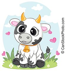 cute Cows character in various poses. vector illustration of a cute cow sits.