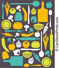cute, cozinha, padrão