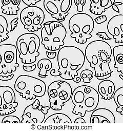 cute, crânios, padrão