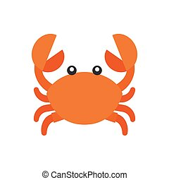 cute crab cartoon icon, flat design vector