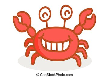 cute crab cartoon smiling
