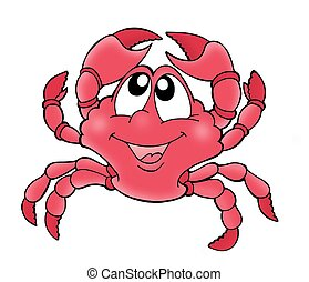 Cute crab - Cute red crab - color illustration.