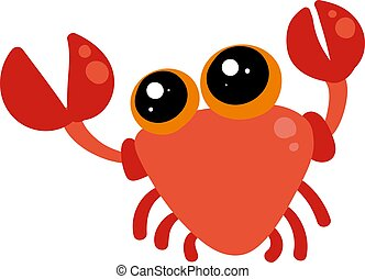 Cute crab, illustration, vector on white background.